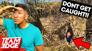 He literally walked right by him..😂 Invisible Fort Challenge!!