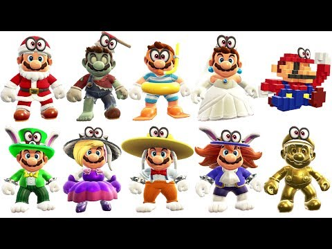 Super Mario Odyssey - All Outfits (DLC Included)