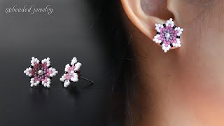 Cherry Blossom Stud Earrings. How To Make Beaded Jewelry. Beading Tutorial
