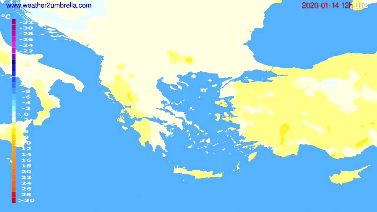 Temperature forecast Greece // modelrun: 12h UTC 2020-01-13
