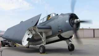 Grumman TBM Avenger engine start and wing fold...