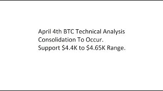 April 4th BTC Technical Analysis - Consolidation To Occur. Support $4.4K to $4.65K Range.
