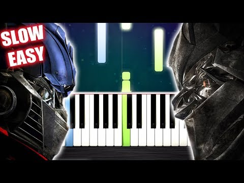 Transformers Theme - Arrival To Earth - SLOW EASY Piano Tutorial by PlutaX