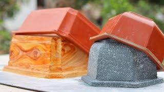 Wooden pots, stone pots from plastic pots - casting cement
