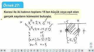 Eğitim Vadisi 11.Sınıf Matematik 11.Föy Denklem ve Eşitsizlik Sistemleri 2 (İkinci Dereceden Bir Bilinmeyenli Eşitsizlikler) Konu Anlatım Videoları