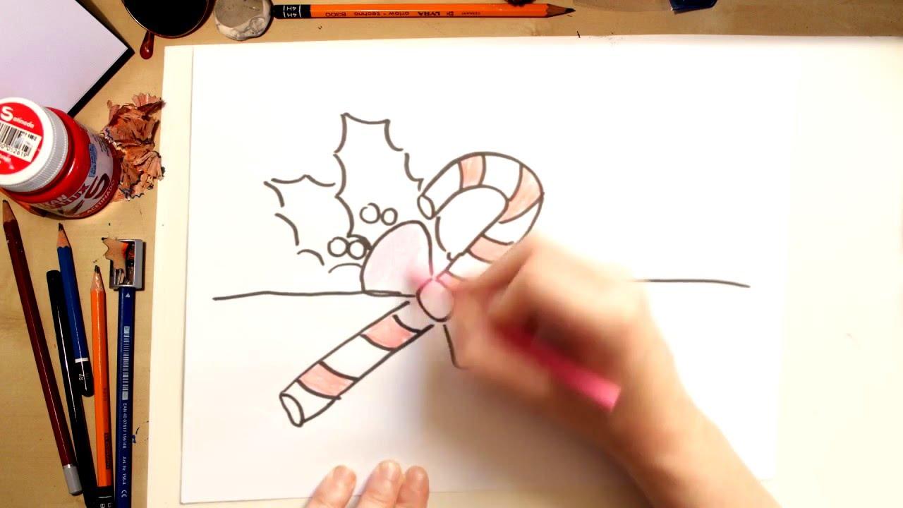 Cómo dibujar un bastón de caramelo - dibujos de Navidad para niños