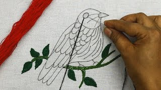 Hand Embroidery Pattern Of A Bird With Colorful Stitches 🐤 Bordado Fantasía | Pájaro (fácil)