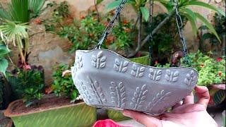 How To Make Beautiful Cement Pot At Home | Cement Craft Ideas | Flower Vase | Wall Hanging Craft