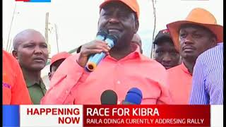 ODM leader, Raila Odinga currently addressing rally in Kibra
