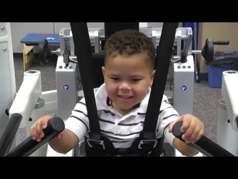 Lokomat therapy machine helps child walk again