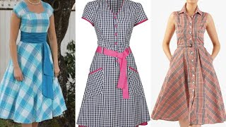 Most Popular Fashion Dresses At Holidays Parties/checked Print Attractive Style Skaters Dress Design