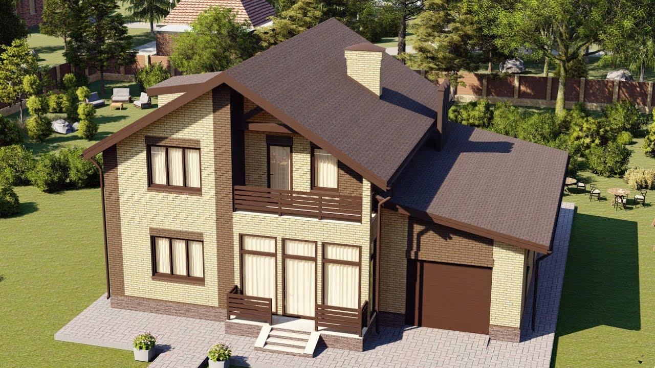 Дом из газобетона с мансардой и гаражом на 1 авто 185 м2