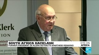 Former South African leader de Klerk sorry for apartheid comment