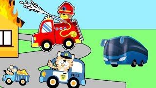 Цветные машинки - Мультик про полицейскую и пожарную машинки - Новые Мультфильмы