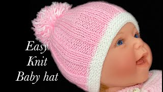 EASY Knit baby hat for beginners 0-6M, KNIT HAT for baby boys and Girls KNITTING FOR BABY