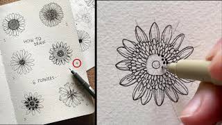 Draw With Me #2 - 6 Easy Floral Doodles  | Ink Drawing