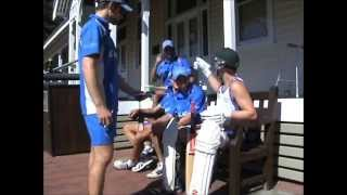 Polly Gets Ready For His Batting Innings By Getting His Cricket Equipment On In Double Time!