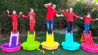 Five Little Monkeys Jumping On The Children's Slides | Kids Song with bolls by Chiki-Piki