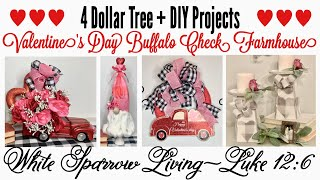 4 DOLLAR TREE DIYS | VALENTINE'S DAY BUFFALO CHECK FARMHOUSE DECOR | LITTLE RED TRUCK CRUSH 🥰