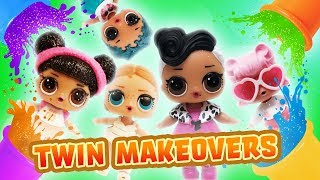 LOL Surprise Dolls Twin Makeovers with Play-Doh! Featuring Glitter Series Hoops MVP and Dollface!