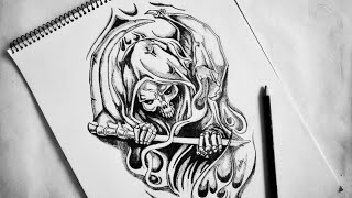 Flaming BAD ASS Grim Reaper   Body Tattoo   How To Draw Grim Reaper Skull Sketch   2018 Update