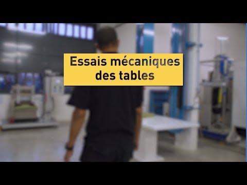 Tests labo : essais mécaniques des tables pour NF Ameublement