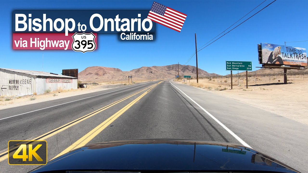 USA Road Trip – Bishop CA to Ontario CA in 4K