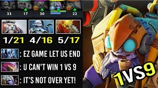 1vs9 Team Feed And They Think It's Over! 10 FINGERS Tinker GOD Keep Calm and Comeback EPIC Dota 2