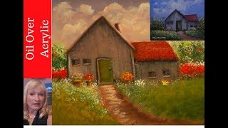 Amazing! You won't believe this Trick to beautify your acrylic paintings with oil paint Part 1. | Kholo.pk
