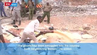 KRA destroy assorted contraband goods worth Kshs 1.8 million in Garissa