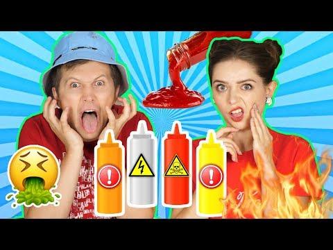 Пробуем 10 видов соуса! Попробуй угадай! Смешали все соусы вместе! Это была ПЛОХАЯ идея! 🐞 Эльфинка
