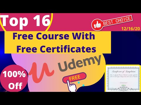 Top 16 Udemy Free Course With Free Certificate | Udemy 100% Off ...