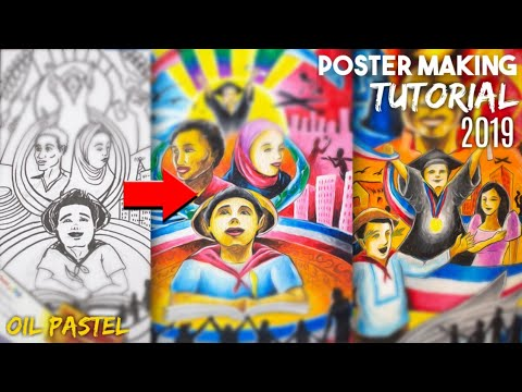 HOW TO USE OIL PASTEL - POSTER MAKING - смотреть онлайн на