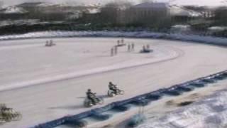 Смотреть онлайн Авария на мото гонках на льду