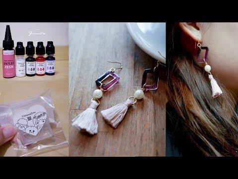 [handmade]DIY自製半透水晶滴膠耳環|UV膠|uvレジン