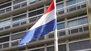 Vlaggen Halfstok Gehesen Volgens Vlagprotocol