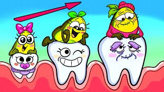 Which Is Ava's Wobbly Tooth? || Vegetables Hillarious Dentist Visit || Avocado Couple