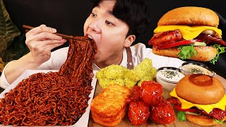 ASMR MUKBANG 버섯 햄버거 & 치즈 스틱 & 양념 치킨먹방! FIRE Noodle & FRIED CHICKEN & CHEESE STICK EATING SOUND!
