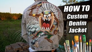 How To Custom Paint Denim Jackets! Taz X Wild West Tutorial | DIY