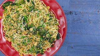 Spaghetti Aglio e Olio (Garlic and Oil) with Broccoli Rabe, Preserved Lemon and Breadcrumbs