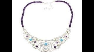 Jay King Amethyst Multigem Silver Bib Necklace