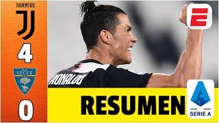 La Juventus se afianzó como líder de la Serie A al golear 4-0 al Lecce, en partido correspondiente a la jornada 28 del futbol italiano. Paulo Dybala, Cristiano Ronaldo, Gonzalo Higuaín y Matthijs de Ligt fueron los autores de los goles de la Juve. Con su gol, de penal, Ronaldo se acerca al liderato goleo, en poder de Ciro Immobile, de la Lazio. #Exclusivos #SerieA