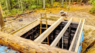 Building an Underground Cellar and Breezeway to the Future Outdoor Kitchen   Off Grid Log Cabin