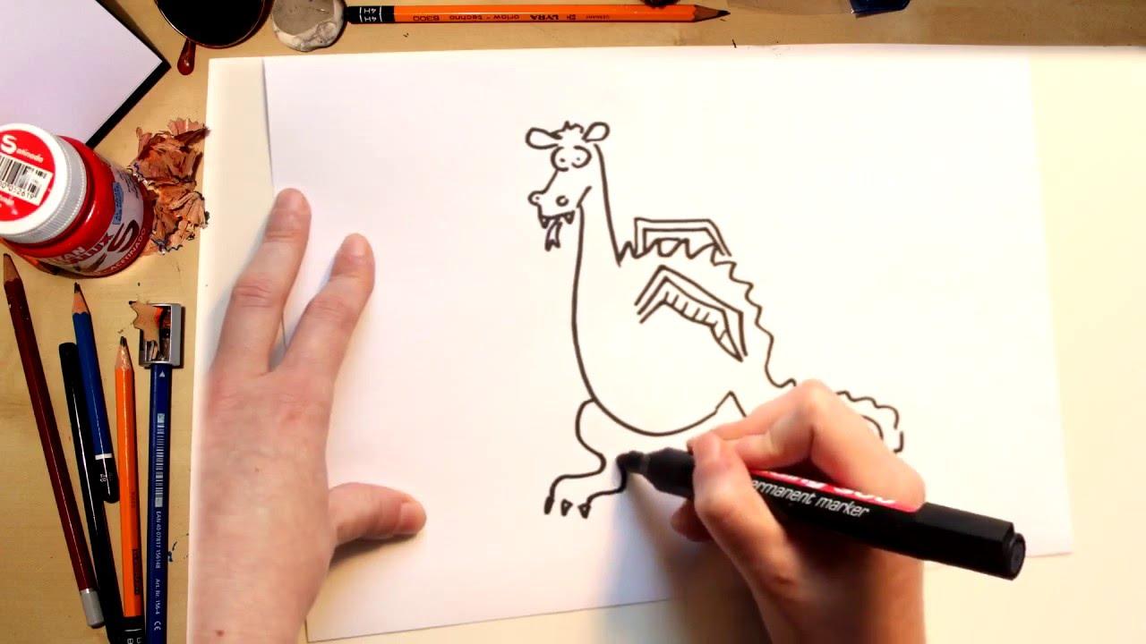 Como dibujar el Dragón de Sant Jordi - dibujos para niños