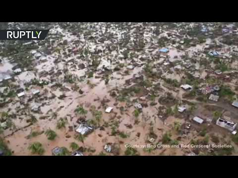 Aerial footage shows scale of deadly devastation caused by cyclone Idai in Mozambique