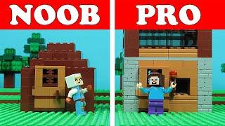 Lego Minecraft NOOB Vs PRO   First Night HOUSE Build Challenge   Animation