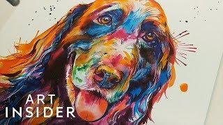Artist Paints Pet Portraits With Beautiful Rainbow Watercolors