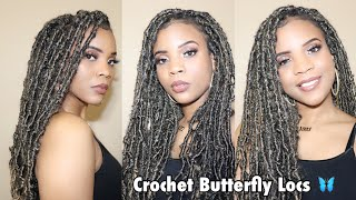 """How to: 24"""" NO WRAPPING  individual crochet Butterfly Locs 
