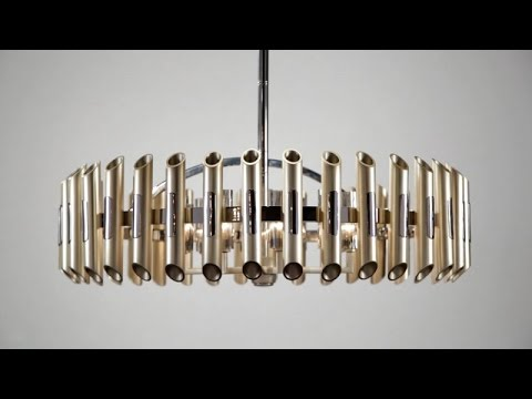 Video for Arpeggio Antique Silver Leaf with Polished Stainless Accents 28-Inch LED Pendant
