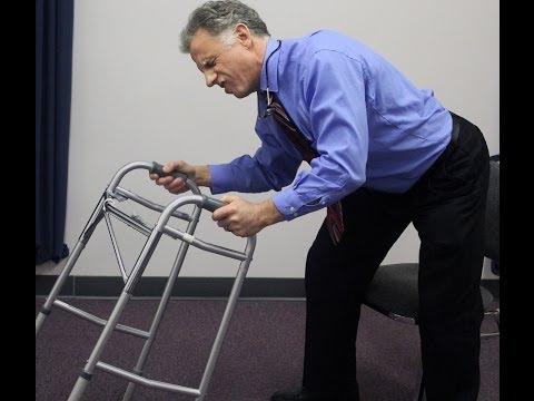 How to stand with the aid of a walker A video to help with walker safety.